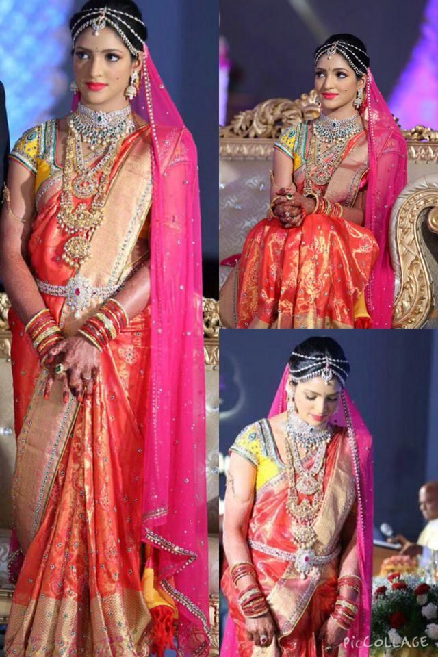 South Indian bride. Temple jewelry.Silk kanchipuram sari with contrast blouse. Braid with fresh flowers.Tamil bride. Telugu bride. Kannada bride. Hindu bride. Malayalee bride.