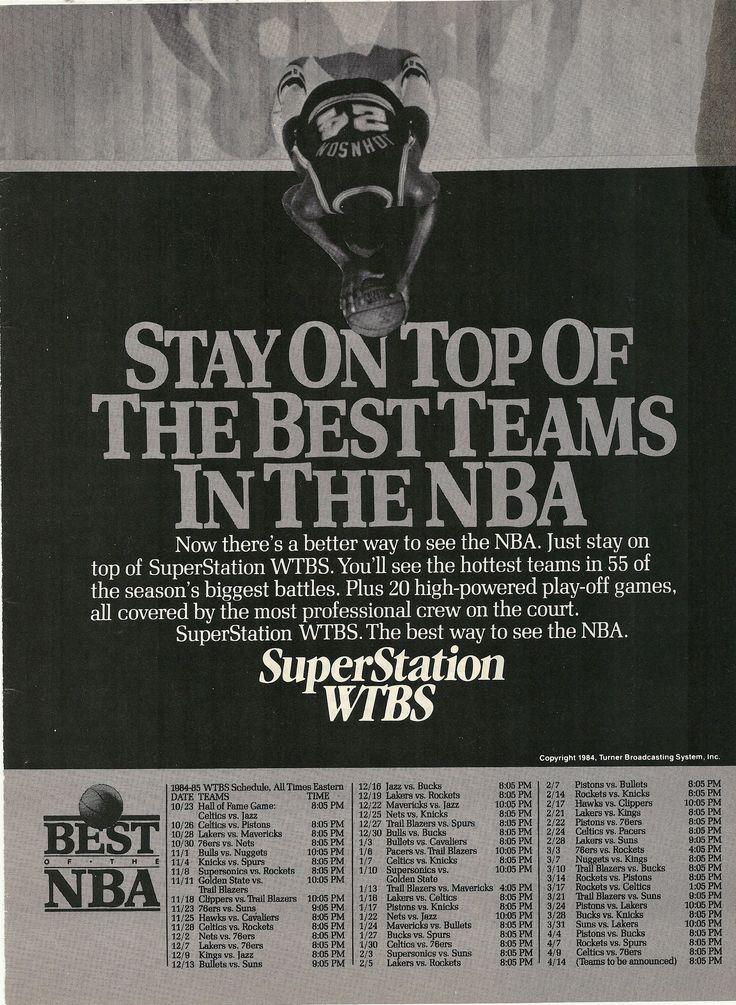 1984 WTBS NBA Schedule Vintage Print Ad