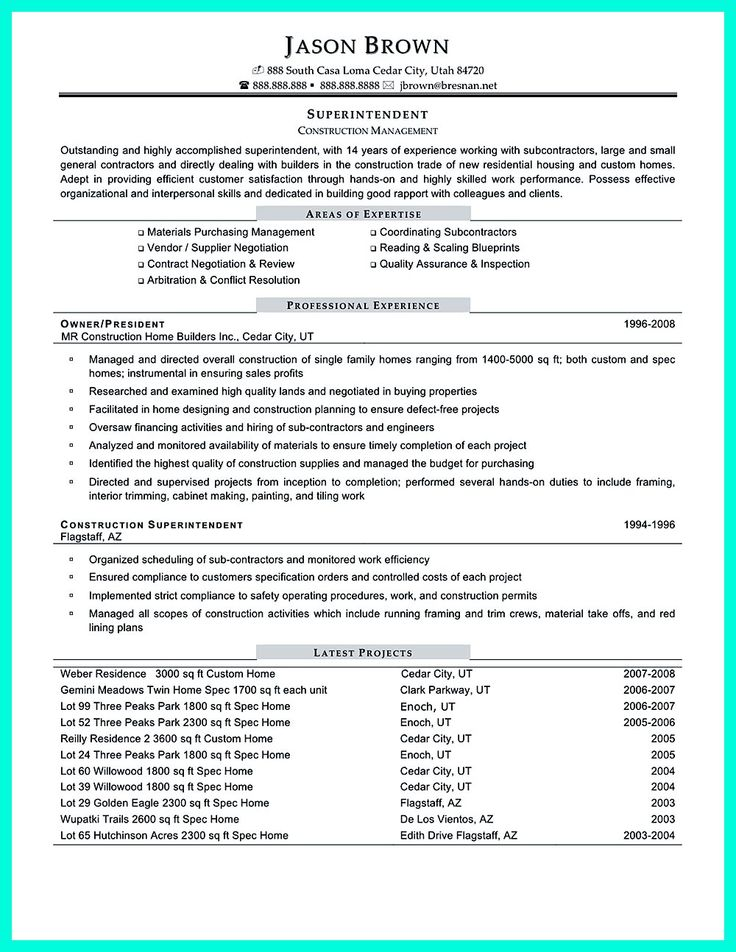 Templates Project Administration Sample Resume Construction