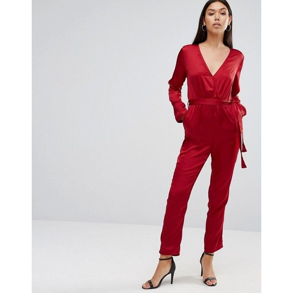 Wyldr Sophie Long Sleeve Jumpsuit (59 AUD) ❤ liked on Polyvore featuring jumpsuits, red, red long sleeve jumpsuit, long sleeve v neck romper, v neck jumpsuit, red jumpsuit and v neck romper