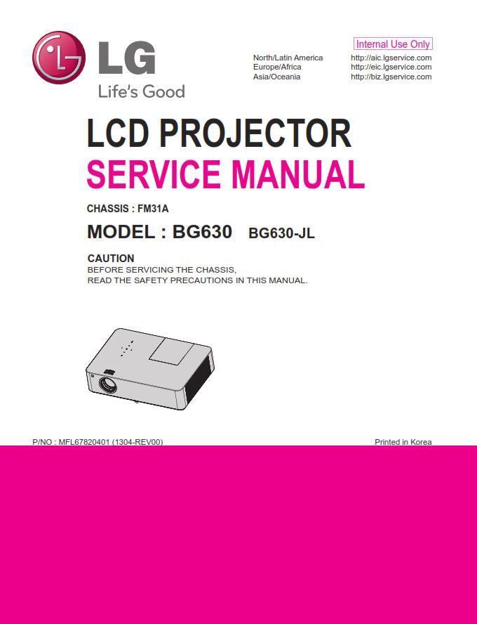 Lg Bg630 Projector Service Manual And Repair Guide