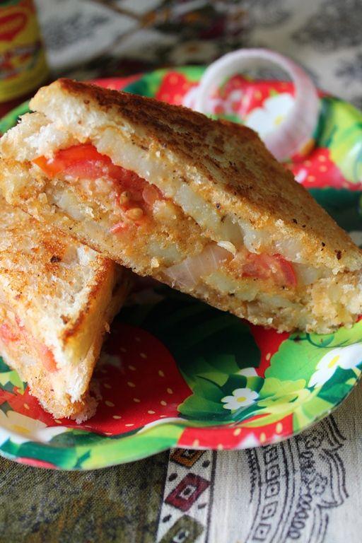 YUMMY TUMMY: Grilled Potato & Onion Sandwich with Low Fat Creamy Spread