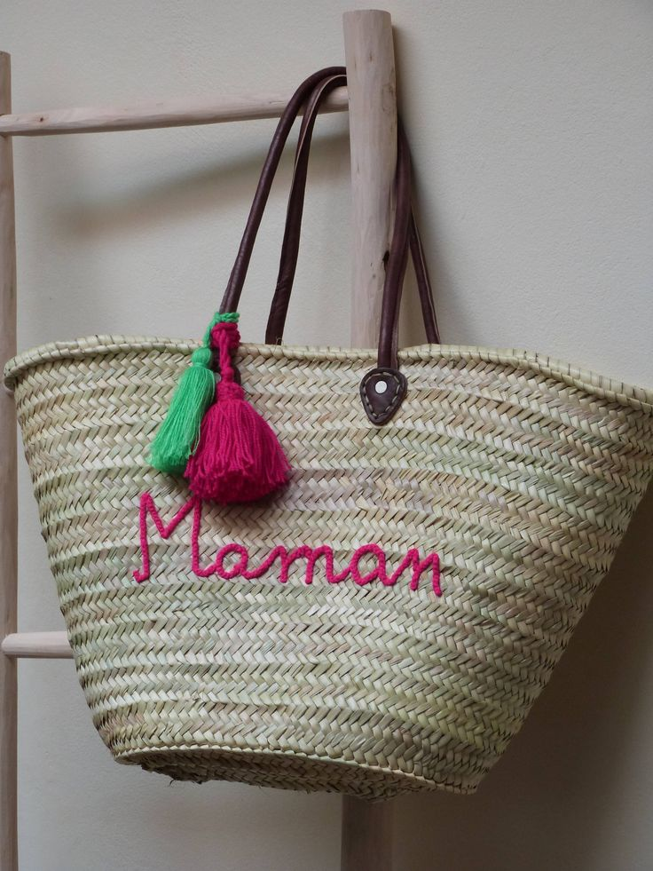 personalized french market basket,monogrammed straw bag,beach tote,moroccan basket,straw tote handbag,beach bag,french basket,natural basket by MyMoroccanStore on Etsy