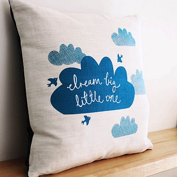 'Dream Big Little One' Pillow purchased via http://www.etsy.com/shop/robinandmould #kids #deco