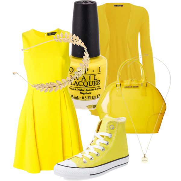 Sunshine yellow☺️ by rowniezhao on Polyvore featuring polyvore, fashion, style, Versace, WearAll, Converse, Armani Jeans, Jigsaw and Candie's