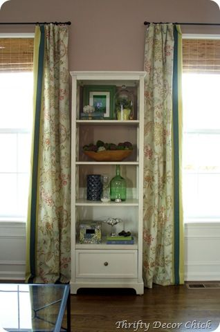 DIY curtains - love the addition of the stripe fabric!