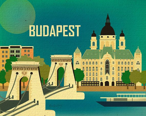 Budapest, Hungary Skyline - Chain Bridge Poster Scene - Illustrated Poster for Gifts and Home - E8-O-BUD