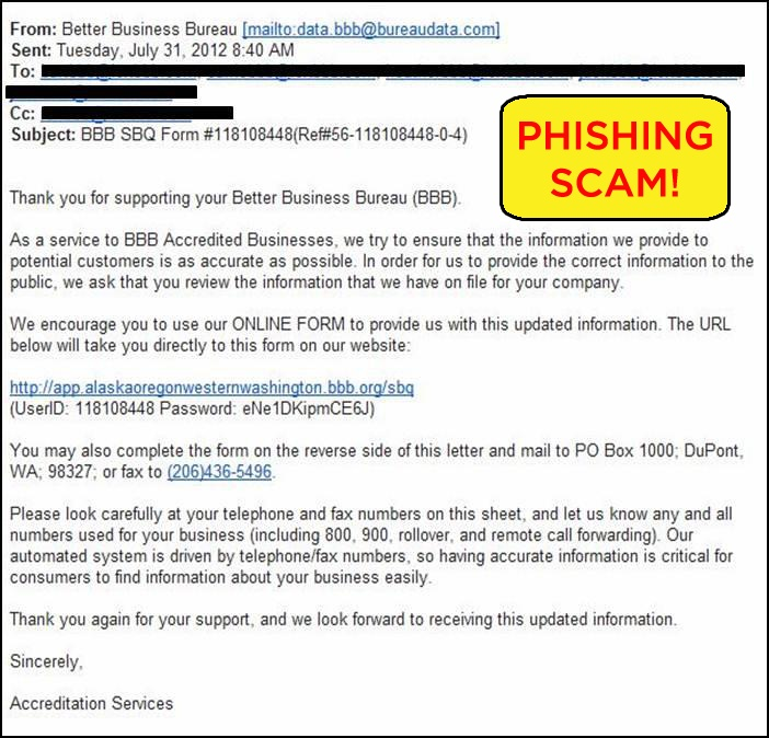 Phishing Alert Scammers Have Hijacked BbbS Name And Are Sending
