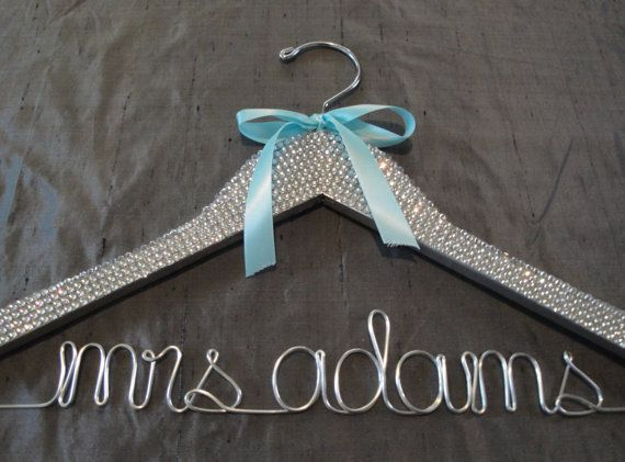 Personalized Bridal Hanger, $55. A great way to hang your dress!