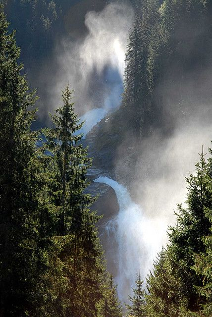 Morning at waterfall, Krimml, Hohe Tauern National Park, Austria ~ this is the largest nature reserve in the Alps.
