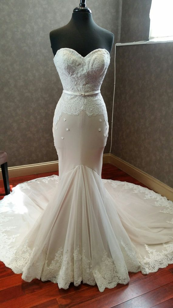 Nude and Ivory Stretch Wedding Dress Custom Made to your Measurements Mermaid…