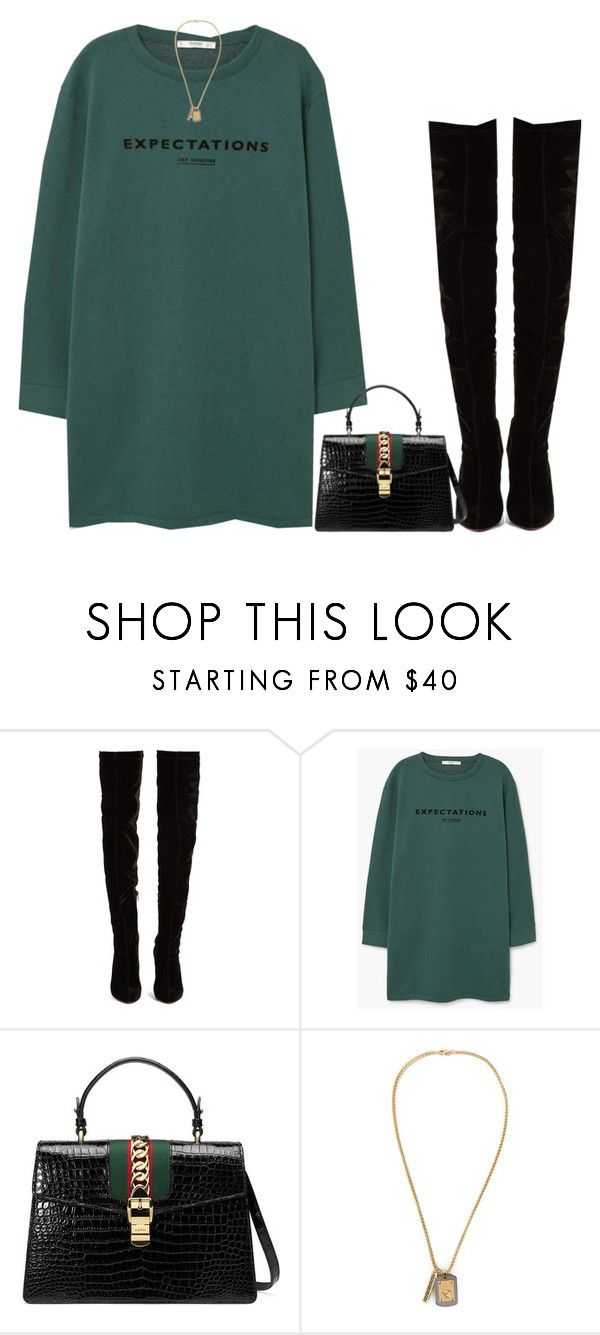"""""""e x p e c t a t i o n s a r e h i g h ♡"""" by anothering ❤ liked on Polyvore featuring Christian Louboutin, MANGO, Gucci, Versace, GREEN, Boots and gucci"""