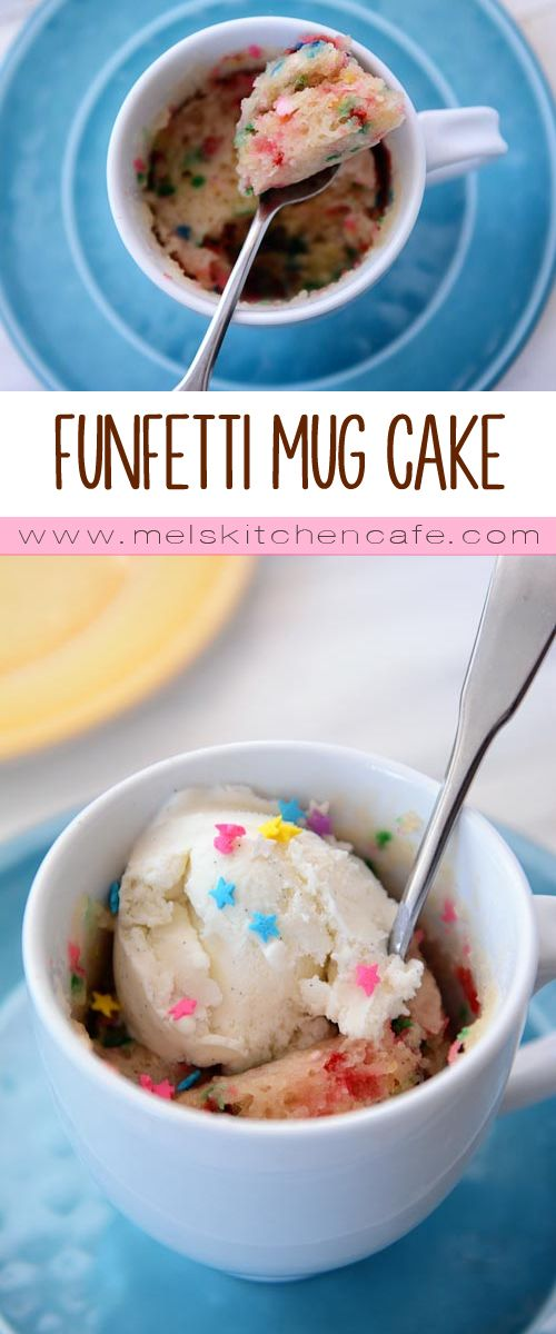 A made-from-scratch egg and dairy free funfetti mug cake baked in 90 seconds.