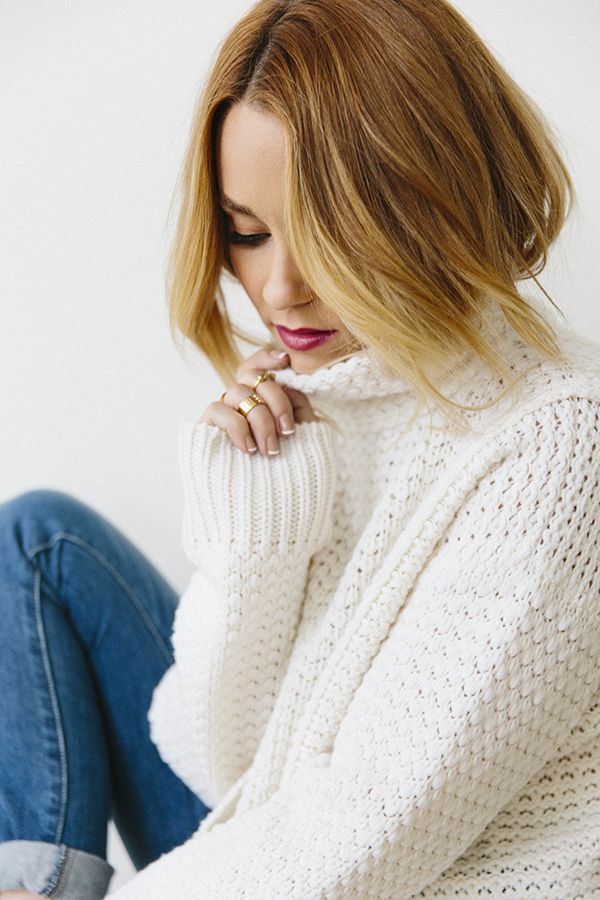Lauren Conrad in a cozy turtleneck sweater