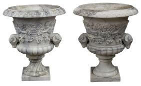 2) LARGE CARVED CLASSICAL STYLE MARBLE GARDEN URNS
