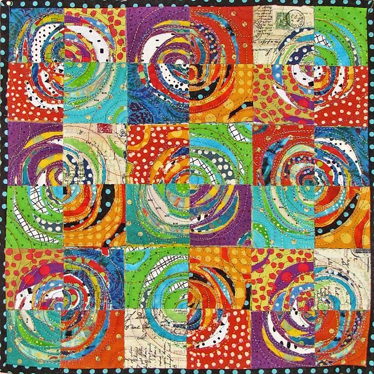 Seeking New Layers Layers of fabic stacked, sewn and then cut into to reveal lower layers. Mini art quilt by Nancy Messier