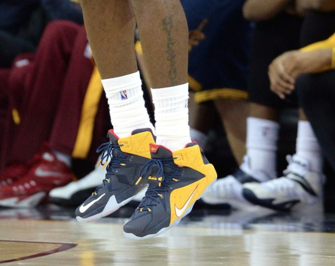 Cleveland Cavaliers forward LeBron James wore a pair of Nike LeBron 12 PEs  in a game against the New York Knicks.