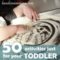 50 toddler activities - divided by sensory, arts and crafts, free play,