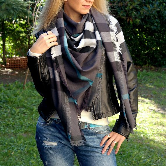 Plaid scarf christmas gift fashion gifts by ChamomileAccessories