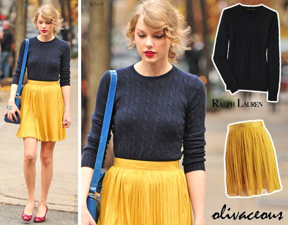 Navy sweater, mustard pleated skirt, red pumps.Red Pump, Cable Knit