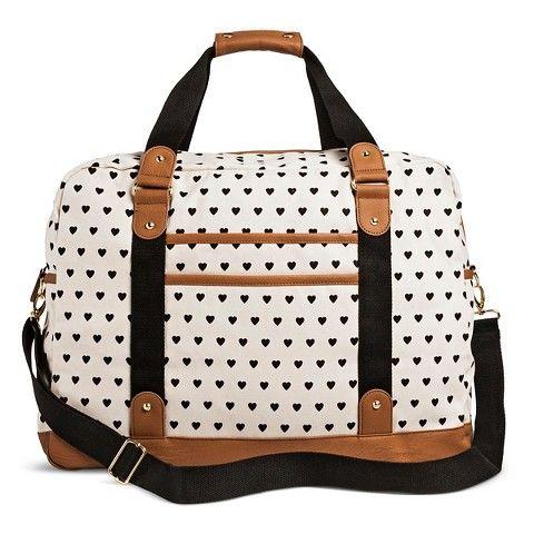Women's Mini Hearts Print Weekender Handbag - White