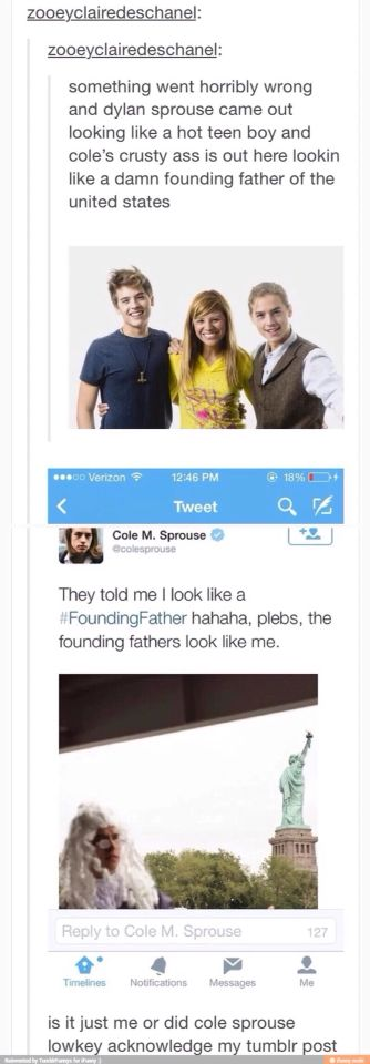 Praise Cole sprouse, the founding father @bethanymeaganc
