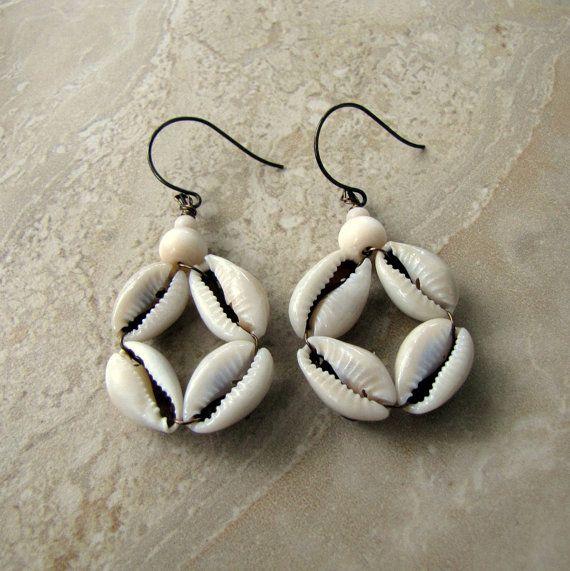 Seashell Earrings  Cowry Shell Dangle Earrings by peacefrogdesigns, $18.00