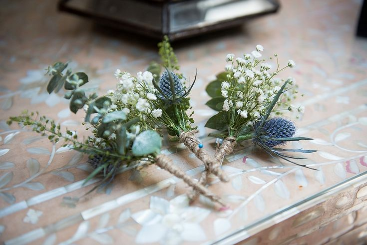 Thistle and gypsophilia buttonhole for a Gaynes Park wedding in Essex © Fiona Kelly Photography