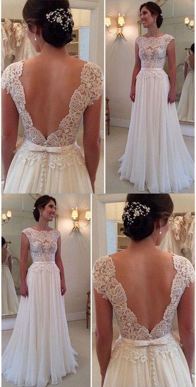Rückenfreies Brautkleid, Spitzen Mieder Abendkleid, Maßanfertigung Abendkleid, 17036 von FancyGown – Brautkleider Spitze