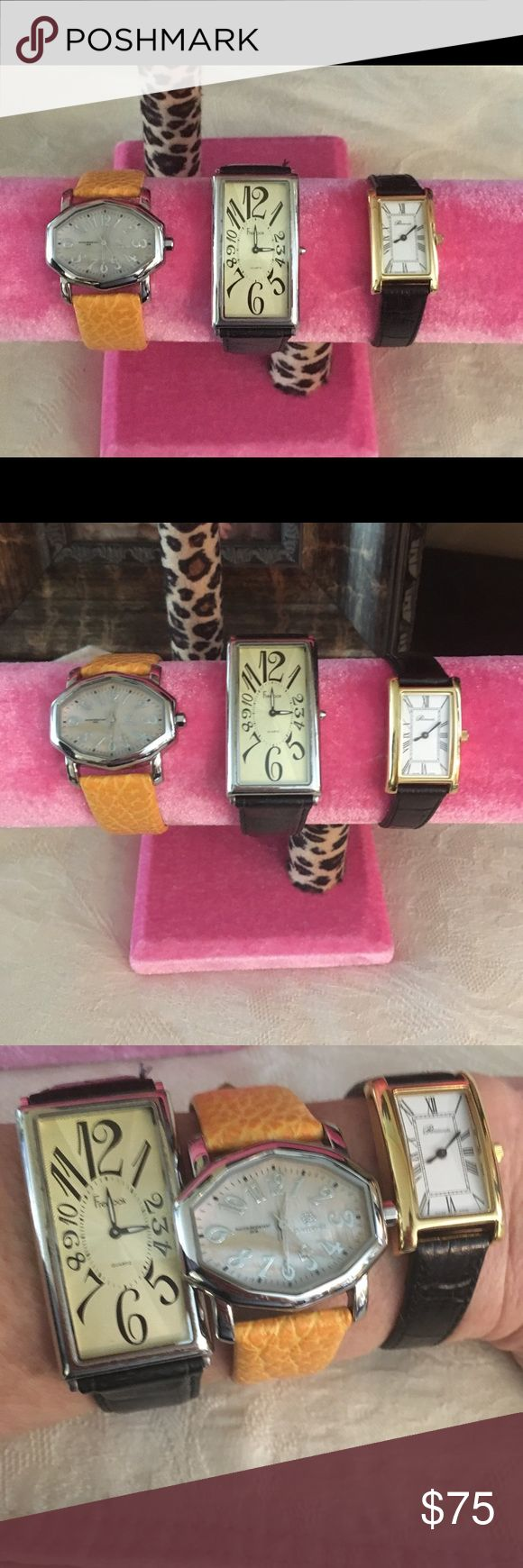 Lot of Ladies Designer Watches Pastorelli & More This is a lot of 3 Designer Ladies Wrist Watches.  The Pastorelli has a Mother Of Pearl Face and a genuine leather band.  The Freelook has a black leather band with a Gold Face.  The Portsmouth has a black leather band and has Gold Tone case.  It is a Swiss made watch and it is signed on the back with a Ladies first name and I assume a Company, dated 2003.  It doesn't look like it's ever been worn.  All of these will need a new battery…