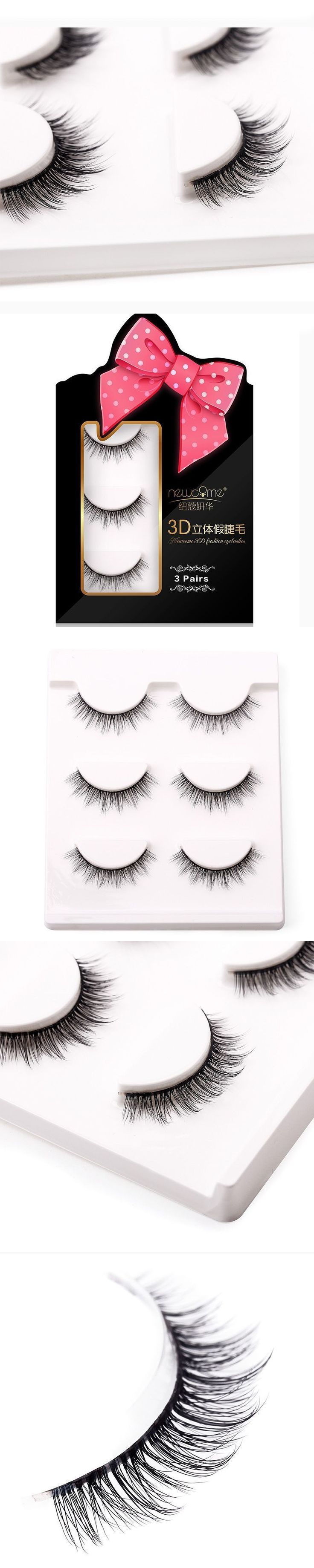 Wholesale Natural 3D 100% Handmade Faux Mink False Eye Lashes/ Cheap Fake Eyelashes Extensions For Makeup Free Shipping