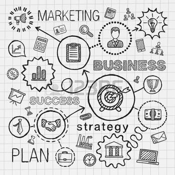 pictogramme: Affaires connecté tirage de la main icônes. Vector sketch infographie illustration doodle intégrée pour la recherche d'analyse de service de la stratégie de marketing numérique concepts interactifs. Pictogrammes Hatch fixés.