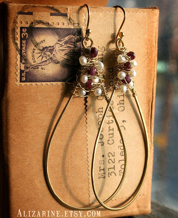 Gold Teardrop Guitar String Earrings with ruby and pearls by Strung-Out. $26.00, via Etsy.