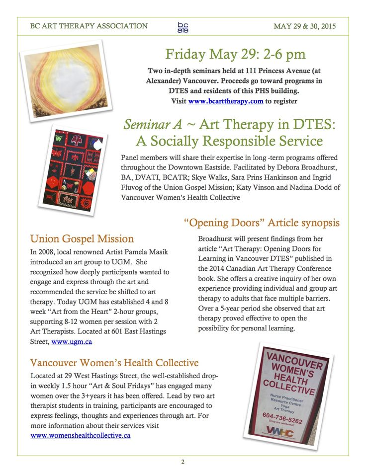 May 29 Panel: Art Therapy in Downtown Eastside Vancouver, A socially Responsible Service.  Page 2 of brochure