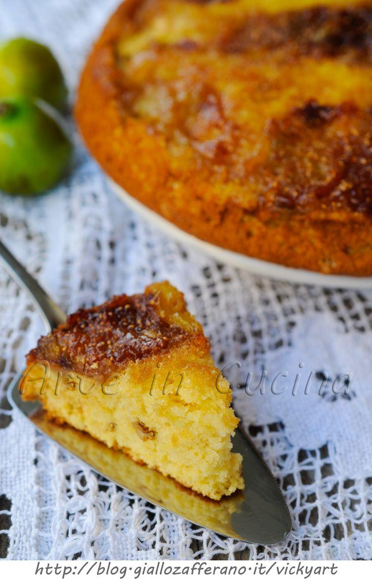 Torta rovesciata ai fichi e noci ricetta dolce veloce vickyart arte in cucina