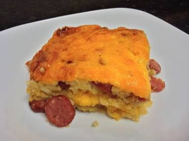 Corn Dog Casserole 1 package hot dogs 2 packages Jiffy cornbread mix 2 ...