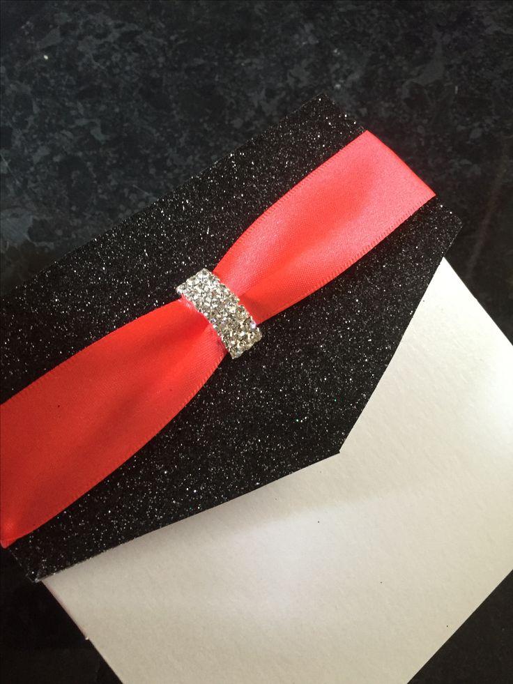 Black Glitter and Hot Coral Pocketfold Invitation