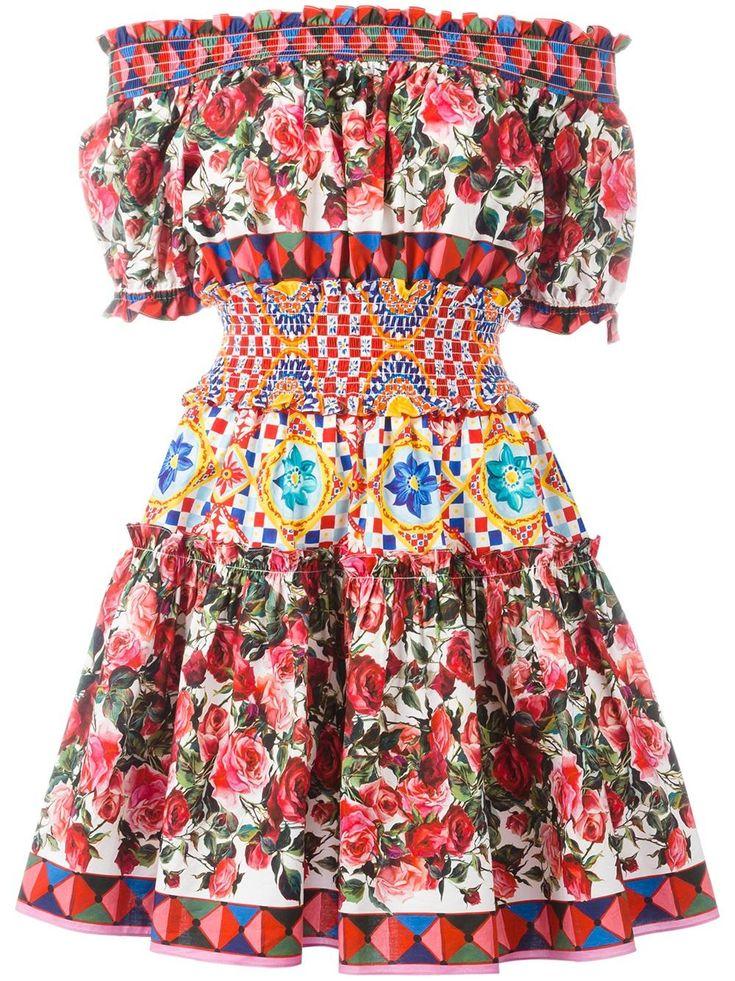 Dolce & Gabbana Mambo print peasant dress floral print hippie jurk print bloemen print