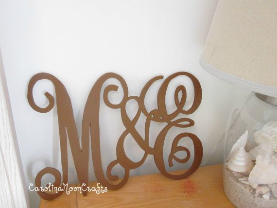 Husband and Wife Initials by CarolinaMoonCrafts on Etsy: Decor, Buffet Tables, Husband Wife, Families Monograms, Initials Hubby, Cute Ideas, Wife Wood, Monograms In Bedrooms, Wife Initials