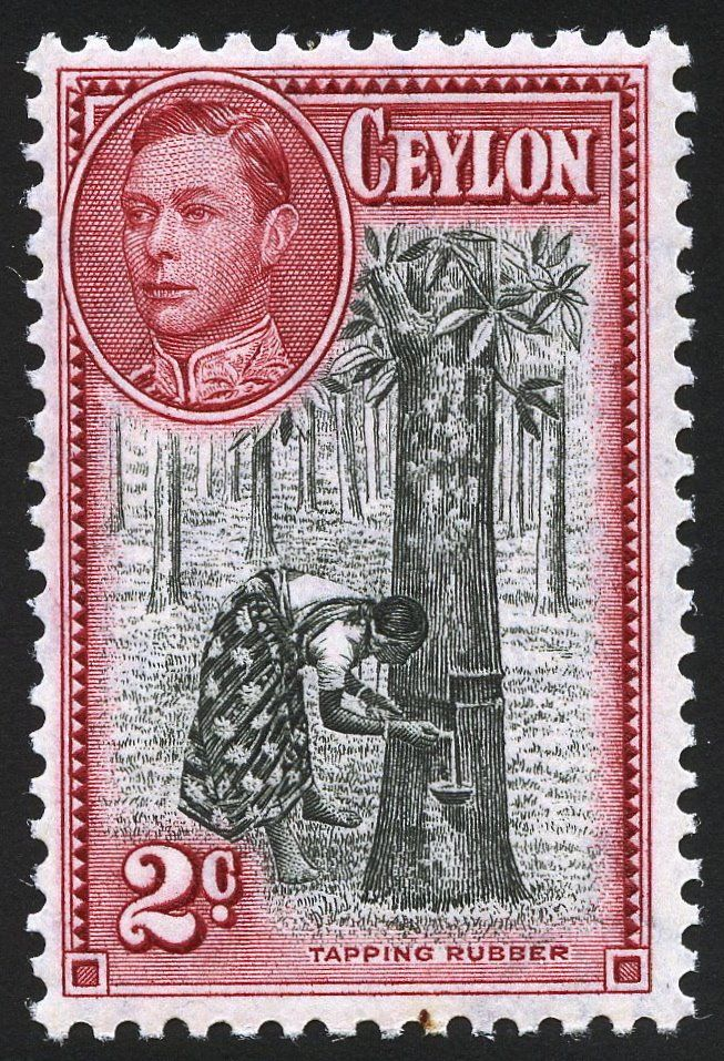 I love these older classic stamps, especially the Commonwealth issues. This issue is from 1935 and shows a woman tapping a rubber tree.