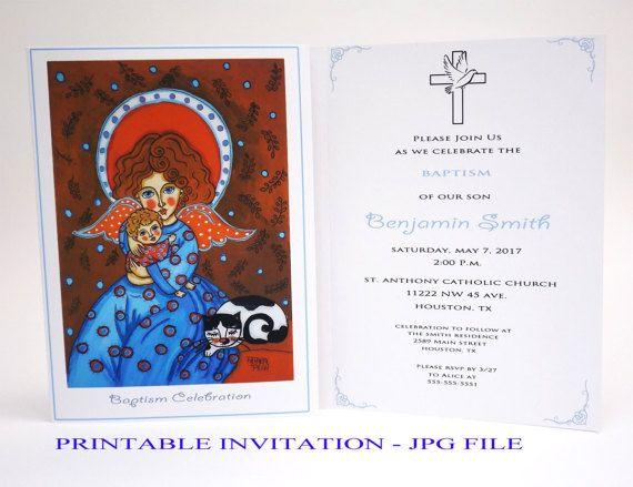 Boy christening invitation Boy baptism invitation boy Christening invites Guardian angel Baptism card Bautizo invitations Christening card
