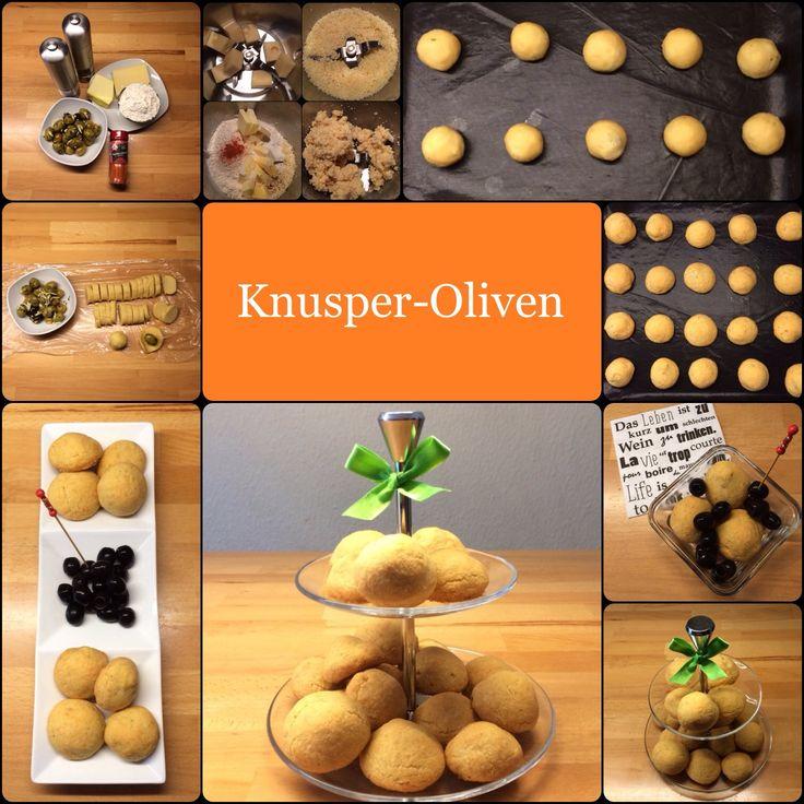 Knusperoliven – leckere Oliven in Käseteigmantel 20-30 Stück, je nach Größe der Oliven 200 g grüne Oliven, natur oder mit Mandeln oder mit Paprika gefüllt 180 g Emmentaler 150 g Mehl 120 g Bu…