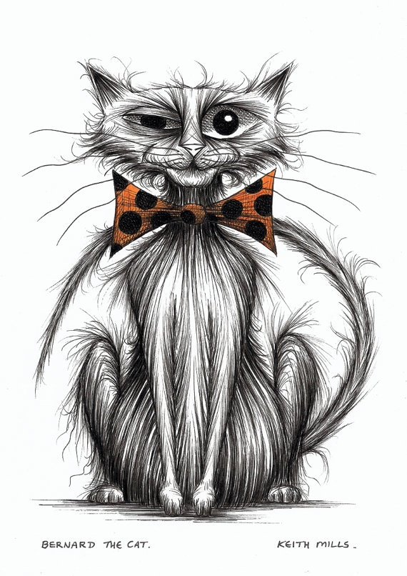 Bernard the cat Kitty in trendy spotty bow tie.    By Keith Mills
