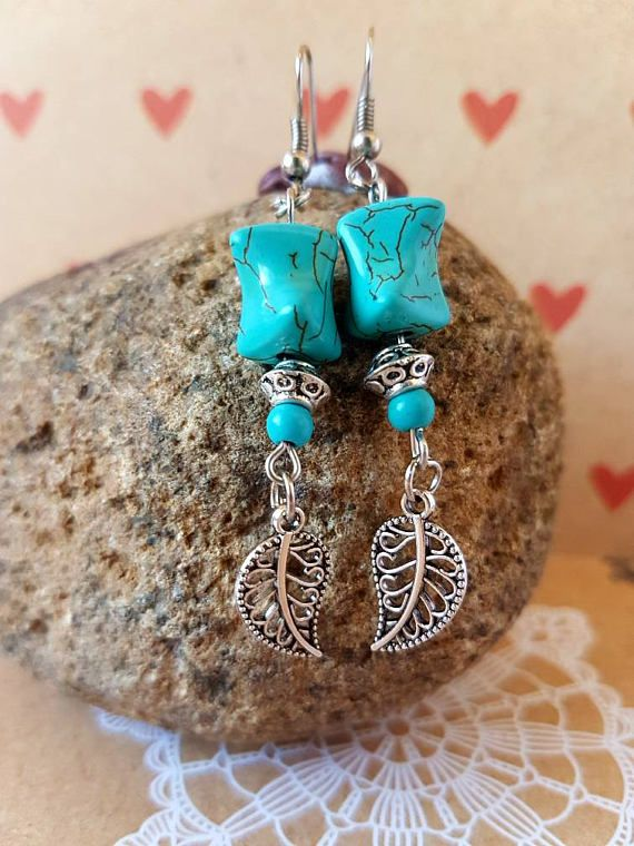 Check out this item in my Etsy shop https://www.etsy.com/au/listing/540727925/turquoise-and-silver-leaf-earrings