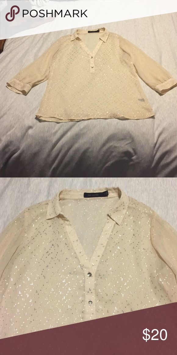 Cream sparkly blouse Great dress up blouse for any occasion. The sparkles just add the right amount of flare The Limited Tops Blouses