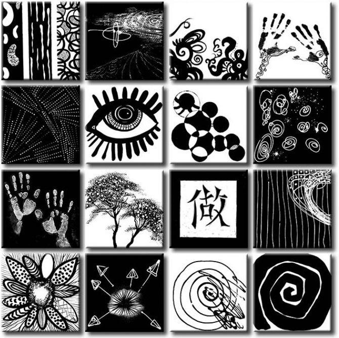 Cuadro blanco y negro: Jugar al escondite - ¿16 piezas del mismo cuadro? ¡COMO NO! Vemos solo las ventajas. Cada poco puedes cambiar posición de las partes individuales ≧◠‿◠≦