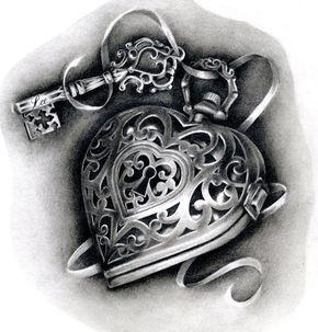 Heart locket tattoo design by Hannah Catherine Falvey