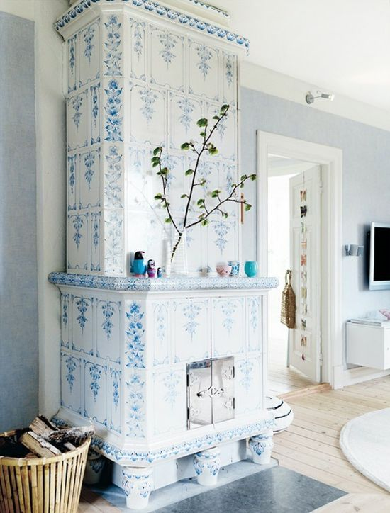 Lovely ceramic tiled fireplace!