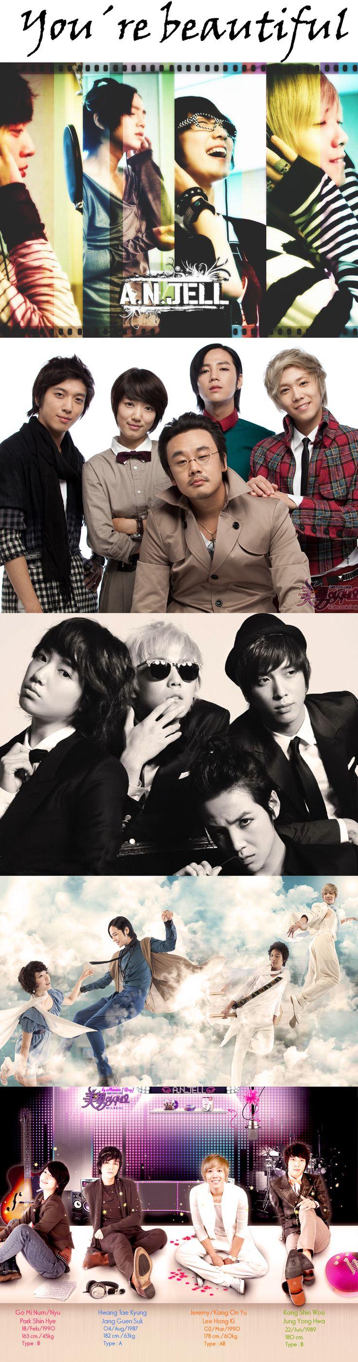 You're beautiful 미남이시네요 (K Drama 2009) 16 episodes ♥ Park Shin-hye as Go Mi Nam (Male) / Go Mi Nyu (Female) ♥ Jang Keun-suk as Hwang Tae Kyung ♥ Jung Yong-hwa as Kang Shin Woo ♥ Lee Hongki as Jeremy