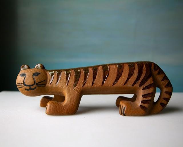 Tiger: ceramic animal figurines by Swedish artist Lisa Larson